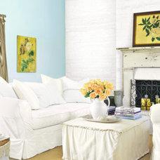 light blue accent wall
