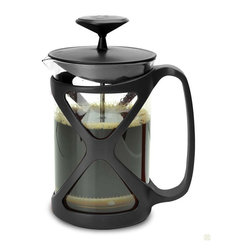 Epoca - Tempo Press 6 Cup Black - Primium Color Tempo Stainless Steel 6 cup - Black - Modern design French Stainless Steel consists of a narrow cylindrical glass jug, equipped with a lid and a Stainless Steel plunger, which fits tightly in the cylinder glass beaker and which has a fine wire mesh acting as a filter.  Coffee is brewed by placing the coffee and water together, leaving to brew for a few minutes, and then depress the plunger to trap the coffee grinds at the bottom of the glass jug.  A French press requires coffee of a coarser grind than that used for a drip brew coffee filter, such as produced by a burr mill grinder rather than the whirling blade variety, as a finer grind will seep through the press filter and into the coffee.  Because the coffee grounds remain in direct contact with the brewing water and the grinds are filtered from the water via a mesh instead of a paper filter, coffee brewed with the French press captures more of the coffee's flavor and Stainless Steel essential oils, which would become trapped in a traditional drip brew machine's paper filters.  French press coffee is usually stronger and thicker and has more sediment than drip-brewed coffee.