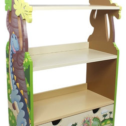 DINOSAUR KINGDOM BOOK CASE - Turn back the pages of prehistoric time, with Teamson's Dinosaur Book Shelf! Three sturdy, tan shelves of dino-indulgence, non-toxic paint, your child is bound to experience an adventure up close and personal. All his favorite dinosaurs he reads about are hand painted and carved into the wood work, which brings his story time to life! Some assembly required, perfect for ages 3 and up.