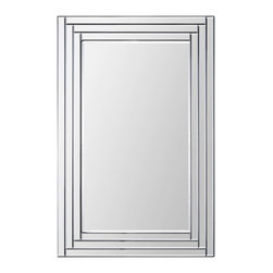 "Ren-Wil - Ren-Wil MT1290 Portrait Edessa in All Glass - This contemporary design features a dimensional beveled-mirror ""Step"" frame and a beveled center mirror. With its sleek look and clean lines this mirror is sure to dress any space."