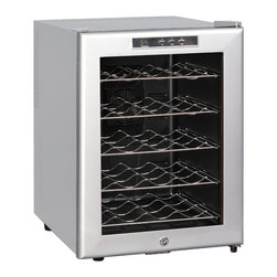 Sunpentown - Thermo-Electric Wine cooler with Platinum Trim, 20-Bottle - 20 standard bottles capacity with removable shelves. Tinted double pane insulated glass door with platinum trim and cabinet. Stylish design and compact size looks great in the kitchen or entertainment area. Digital controls with LED temperature display. ThermoElectric Technology (no compressor) offers a quiet operation with no vibration. Adjustable temperature between 54 to 66F.