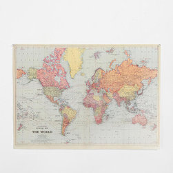 World Map Poster - This vintage-looking map print would work great in any room.