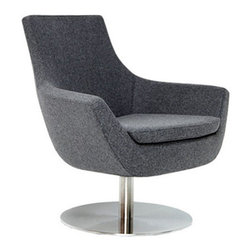 Rebecca Swivel Chair by sohoConcept - From gray wool to cream leather, the Rebecca Swivel Chair, set atop a circular steel base, comes in a beautiful array of colors and materials. Comfort and beauty in a great swivel design.
