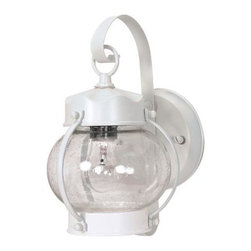 Nuvo - Outdoor - 1 Light - 11 in. Wall Lantern - Onion Lantern Clear Seed Glass - Clear Seed Shade. UL Wet Rated. Incandescent . Color/Finish: White. Max wattage: 60w. Bulb(s) not included. 6 in. L x 6 in. W x 10.625 in. H