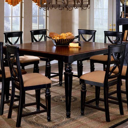 Hillsdale Furniture - Northern Lights Counter Height Rectangle Dini - This counter or pub height table is a modern twist on Scandinavian design. This generously sized table does have a leaf, making it a fine choice for entertaining. The black and honey finish and rich cherry toned wood tabletop add style and class to your eat in kitchen, breakfast nook or dining room. The higher table adds a contemporary and casual touch. * For residential use. This counter or pub height table is a modern twist on Scandinavian design.. This generously sized table does have a leaf, making it a fine choice for entertaining.. The black and honey finish and rich cherry toned wood tabletop add style and class to your eat in kitchen, breakfast nook or dining room.. The higher table adds a contemporary and casual touch.. Black base with cherry top finish. 18 in. Leaf. Table: . Minimum: 42 in. L x 60 in. W x 36 in. H. Maximum: 60 in. L x 60 in. W x 36 in. H