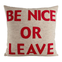 alexandra ferguson llc - Be Nice, Oatmeal/Red - Friendly, gentle reminders to stash away throughout the house keep everyone on their best behavior. MADE IN THE USA