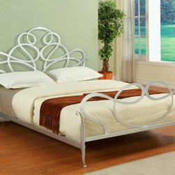 Lilly Platform Bed - Like the perfect bold silver necklace the Lilly Bed is the standout finishing touch for your bedroom ensemble. Crafted with durable metal this contemporary bed - available in queen and king sizes - boasts a headboard and footboard piled with striking laser-cut swirls and curves. Finished in gleaming silver leaf this bed is an ideal centerpiece for brightly or softly colored rooms - it plays whimsically in the former and so sweetly in the latter. Flat side rails and a center support system for added stability are included. Queen dimensions: 82L x 68W x 53H inches. King dimensions: 84L x 82W x 53H inches. Minimal assembly required. About ChintalyBased in Farmingdale NY Chintaly Imports is an importer of casual dining and leather upholstery. They offer a variety of products from bar stools to curio cabinets and are known for their innovative contemporary designs.