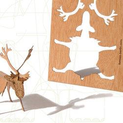 Wood Deer Postcard by Formes Berlin - Send a friend a little bit of DIY holiday cheer. Formes Berlin's reindeer arrives as a wooden postcard and transforms into a festive reindeer.