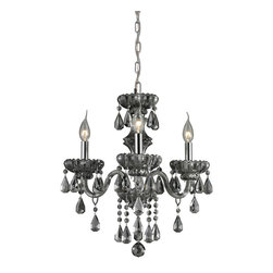 Elk Lighting - Cotswold 3-Light Crystal Chandelier in Smoke Plated and Chrome - This Cotswold collection chandelier comes with smoke plated crystal glass shade. This glamorous collection features an abundance of solid crystal and stunning design details. Its center column has concave ribbed motifs that coordinate with scalloped bobeches and angular faceted crystal pendalogues. It accommodates three 60-watt candelabra bulbs. Available in polished chrome finish. Measures 16-inch extended length by 16-inch width by 19-inch height.