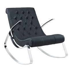 """Tufted Rocker in Black - Never thought you'd call a rocking chair """"sleek"""" and """"edgy""""? A perfect blend of stainless steel and tufted leather seating, the Tufted Rocker completely re-imagines the traditional rocking chair. Comfortable enough for the bedroom but stylish enough for the living room and entertainment lounge, the piece melds function with high-style."""
