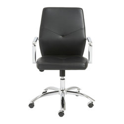 Eurostyle - Napoleon Low Back Office Chair - Black/Chrome - Leatherette over foam seat and back