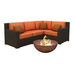 Forever Patio - Hampton 4 Piece Modern Wicker Sectional Sofa, Chocolate Wicker and Rust Cushions - The 4 Piece Hampton Modern Sectional Set by Forever Patio with Orange Sunbrella cushions (FP-HAM-4SEC-CH-CR) sports the latest modern wicker design while providing an incredibly luxurious outdoor seating experience. The set seats 4 adults comfortably, and includes a left arm, right arm, middle and corner section. This set features Chocolate wicker, which is made from High-Density Polyethylene (HDPE) for outdoor use. Every strand of this wicker is infused with the rich color and UV-inhibitors that prevent cracking, chipping and fading ordinarily caused by sunlight. Each piece features thick-gauged, powder-coated aluminum frames that make the set extremely durable and resistant to corrosion. Also included with the set are cushions covered in fade- and mildew-resistant Sunbrella fabric, available in a wide selection of colors. The seating is generously sized and the back cushions are overstuffed, providing unmatched outdoor comfort.