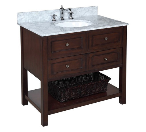 Kitchen Bath Collection - New Yorker 36-in Bath Vanity (Carrara/Chocolate) - This bathroom vanity set by Kitchen Bath Collection includes a chocolate cabinet with soft-close drawer, Italian Carrara marble countertop, undermount ceramic sink, pop-up drain, and P-trap. Order now and we will include the pictured three-hole faucet and a matching backsplash as a free gift! All vanities come fully assembled by the manufacturer, with countertop & sink pre-installed.