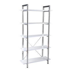 Eurø Style - Laurence Leather Bookcase in White / Chrome - Five leather covered shelves will accommodate all office supplies, while chromed steel frame will provide durability and strength. Available in several finishes to match your home/office décor.