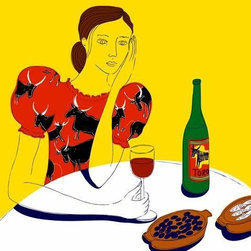 Wallmonkeys Wall Decals - Woman Sitting at a Table with a Bottle of Wine Wall Mural - 24 Inches H - Easy to apply - simply peel and stick!