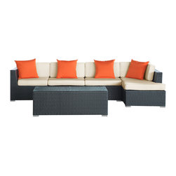 LexMod - Signal Outdoor Wicker Patio 5 Piece Sectional Sofa Set - Engage adaptivity with the Signal Outdoor Set. Embed your environs with clues for attaining allostasis with an alert orange and white design that focuses your natural acumen. Command success in progressive steps with a piece that neutralizes outside distractions.