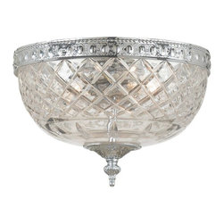 Crystorama - Crystorama Richmond Flush Mount Ceiling Fixture in Chrome - Shown in picture: 24% Lead Crystal Flush Mount; The ceiling mount beautifully pairs a Chrome plated solid brass frame with a 24% cut crystal bowl - making it a perfect addition to any traditional room in your home.