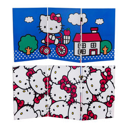 Oriental Furniture - 2 ft. Tall Double Sided Hello Kitty Bicycle Canvas Room Divider - A limited edition, two foot tall three panel folding screen with adorable, authentic, Hello Kitty graphic art. Artist's quality canvas on sturdy double hinged mitered wood frames. Use for hiding unsightly areas, covering a window, dividing space, or as reversible wall decor with fun and friendly Hello Kitty designs.