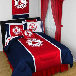 "MLB Boston Red Sox Bedding and Room Decorations - Whether game day or a regular night's sleep, make your room shout ""A true Boston Red Sox fan lives and sleeps here!"" We have a wide range of bedding and room decor products that will make quite an impression. Click the link below to view all items available for purchase."