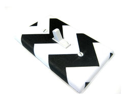 Modern Switch - Large Chevron Black and White Light Switch Cover - This light switch cover is made when ordered please allow 1-2 weeks before shipping.