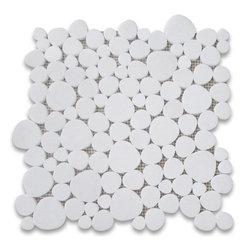 "Stone Center Corp - Thassos White Marble Heart Shaped Bubble Mosaic Tile Polished Carrera - Thassos White Marble random heart-shaped pieces mounted on 12x12"" sturdy mesh tile sheet"