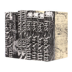 Go Home - Go Home Linear Foot of Black Bold-Spenserian Books - Now display your devotion towards ancient art and literature with this gleaming collection of sturdy decorative books. A master work from the French country chic collection this linear foot of nine books with different dimension but similar design of Spenserian texts prints displays a work of dedicated art.