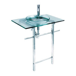 Renovators Supply - Glass Sinks Teal Glass/Chrome Water Lily Glass Sink Console - Glass Sinks: The Green Water Lily glass sink comes complete with faucet, drain, and p-trap. Total height measures 39 3/4 inches, counter measures 29 5/8 inches and projects 20 1/2 inches. Bowl measures 16 1/2 inches with a depth of 5 1/2 inches.