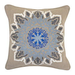 Villa Home - Pair of Helena Slate Blue Pillows by Villa Home - Intricate print and embroidery enriches the texture of these natural linen pillows. Leaning these against the back of some occasional seating can be just the spark needed for some updated energy. (VH)