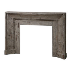 Uttermost - Uttermost Khuri Wooden Mantel 24800 - Bringing the past forward with this art deco inspired mantel and surround, made from solid fir wood, stonewashed with natural gray undertones for antique appeal.