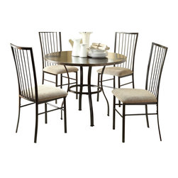 Homelegance - Homelegance Carlson 5 Piece Round Dining Room Set w/ Metal Coffee Frame - Carlson 5-Piece Round Dinette Set, Metal and Wood Veneer Top. This set includes: Round Table, Coffee finish: 40 Dia x 30H and 4 Metal Chairs: 17 x 21 x 38H.