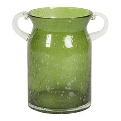 IMAX CORPORATION - Stevenson Handblown Medium Green Glass Jar - Admired for its beauty and simple elegance, this olive toned bubble glass is hand blown into a rimless wide mouth jar with clear handles. Find home furnishings, decor, and accessories from Posh Urban Furnishings. Beautiful, stylish furniture and decor that will brighten your home instantly. Shop modern, traditional, vintage, and world designs.