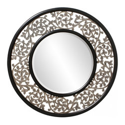 Howard Elliott - Harvest Round Ornate Silver Scrolled Frame Mirror - This round, ornate mirror is finished in Silver and features a scrolled frame w/ black edge & inset.