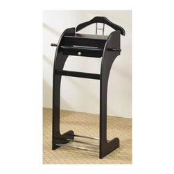 Coaster - Mens Valet Stand - One storage drawer. Flip top storage. Made from wood. Cappuccino finish. 25 in. W x 16 in. D x 41 in. H. Warranty