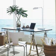 Modern Desks And Hutches glass sawhorse desk