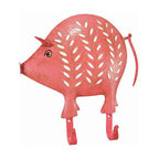 Distressed Finish Pink Pig 2 Hook Wall Mounted Coat Rack - This beautiful, pink pig 2 hook wall mounted hanger can be used for many different things. In the kitchen, it can be a mug rack for coffee mugs. In the hallway, you can hang your coats and sweaters from it. In the bedroom, hang hand scarves and other accessories! The hanger measures 10 1/2 inches tall, 10 inches wide, and features an artificially aged pink finish, with off-white leaf and spot accents. It makes a great gift for pig lovers.