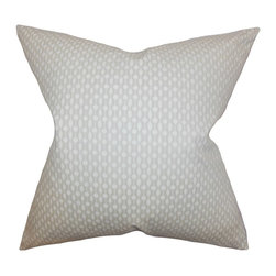 "The Pillow Collection - Orit Geometric Pillow Oyster - Use this indoor pillow to infuse some global style to your living space. This toss pillow features a unique geometric pattern in shades of gray and white. This throw pillow offers a contemporary twist to your sofa, bed or couch. Constructed with 100% soft and plush cotton material, this 18"" pillow is made in the USA. Hidden zipper closure for easy cover removal.  Knife edge finish on all four sides.  Reversible pillow with the same fabric on the back side.  Spot cleaning suggested."