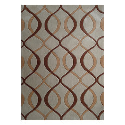 Rug - ~8 ft' x 11 ft' Transitional Brown Hand Tufted Area Rug, Hand Woven - Living Room Hand-tufted Shaggy Area Rug