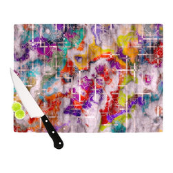 "Kess InHouse - Michael Sussna ""Quantum Foam"" Rainbow Geometric Cutting Board (11.5"" x 15.75"") - These sturdy tempered glass cutting boards will make everything you chop look like a Dutch painting. Perfect the art of cooking with your KESS InHouse unique art cutting board. Go for patterns or painted, either way this non-skid, dishwasher safe cutting board is perfect for preparing any artistic dinner or serving. Cut, chop, serve or frame, all of these unique cutting boards are gorgeous."
