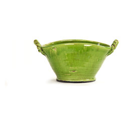 Zentique - Lorie Bowl, Green - The Lorie Bowl features two rope like handles with a curvy ridge. For decorative purposes only.