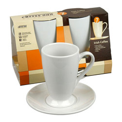 Konitz - S/2 Irish Coffee Cup and Saucer, Set of 2 - When the sun sets, you and your coffee go into evening mode. You slip into something a little more comfortable and you pull out this shapely, Irish coffee cup and saucer set to serve your after-dinner delicacy. The traditional design is ideal for sipping your favorite, spiked hot coffee or chocolate, and the simple white porcelain style has a classic, universal appeal.