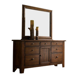 Broyhill - Broyhill Attic Heirlooms Oak Stain 7 Drawer Door Dresser with Mirror - Broyhill - Dressers - 439X32X439X36XSet