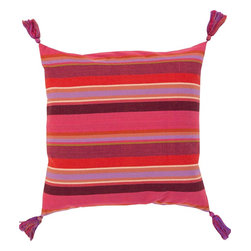 "Surya - Surya SS-002 22"" x 22"" Poly Fiber Pillow Kit - Add a twist on classic stripes to your space with this perfect pillow! Featuring a classic multi-colored bright stripe pattern with tantalizing tassel add-ons, this piece will fashion a fresh, modern look that translates from room to room within your home. This pillow contains a zipper closure and provides a reliable and affordable solution to updating your home's decor."