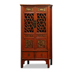 "China Furniture and Arts - Hand Carved Window Panel Cabinet - Featured on both doors of this cabinet, traditional Chinese window panels are often characterized by intricate open geometric patterns. The hand carved panels and distinct antique look make for a one of a kind piece to treasure for generations. The top interior comes with a hanging rod and features spacious storage accommodations with interior dimensions of 32.5""W x 16.5""D x 52.5""H. The bottom drawers offer additional space with the interior of each measuring 15""W x 13""D x 6""H. Hand crafted of Elmwood. Fully assembled."