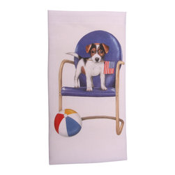 Jack Russell Terrier Summer Printed Flour Sack Dish Towel - The flour sack dish towel is 100% white cotton. The actual size 30 X 30 inches. The towel has a printed design featuring a Jack Russell Terrier dog sitting on beach chair, holding American Flag. The beautiful design is done by artist Mary Lake-Thompson. Great for drying dishes and cleaning up! Machine wash cold in gentle cycle.