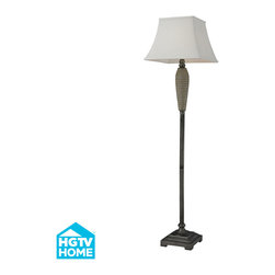 Dimond Lighting - Calico 1-Light Floor Lamp in Glazed Wand Painted Pewter Accents - Dimond Lighting HGTV126 Calico 1-Light Floor Lamp in Glazed Wand Painted Pewter Accents