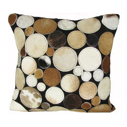 Design Accents - Design Accents Circles Pillow - Brown - SGC12120X20CIRCLESBROWN - Shop for Pillows from Hayneedle.com! These funky and modern circles are a mix of sizes and colors making the Design Accents Circles Pillow - Brown a striking accent. It's made of durable leather for a luxurious texture designed to last. It comes in a variety of sizes making it easy to get the right look for your bed sofa or chair. Removable cover is zippered for your convenience.