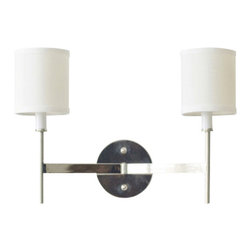 Worlds Away Randolph Leaf 2-Arm Wall Sconce, Nickel - Worlds Away Randolph Nickel 2-Arm Wall Sconce
