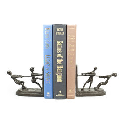 Danya B - Children Playing Tug of War Metal Bookend Set - The children playing tug of war bookend set depicts the great attributes of youth: innocence, playfulness, curiosity and mischief. Handcrafted using the sand casting method and lined with velveteen to protect furniture. Great gift for mothers, grandmothers, teachers and caretakers .