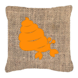 Caroline's Treasures - Hermit Crab Burlap and Orange Fabric Decorative Pillow Bb1092 - Indoor or Outdoor Pillow from heavyweight Canvas. Has the feel of Sunbrella Fabric. 18 inch x 18 inch 100% Polyester Fabric pillow Sham with pillow form. This pillow is made from our new canvas type fabric can be used Indoor or outdoor. Fade resistant, stain resistant and Machine washable..