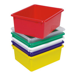 """Steffywood - Steffywood Home Green Plastic 15"""" Cabinet Storage Tub 5""""H X 10 1/2""""W X 13""""L - Plastic durable storage tub measures 5""""H x 10 1/2""""W x 13""""L and fit our tub storage unit. All edges are rounded and smooth. GreenGuard certified.Fits our 15""""cabinets. Lifetime against manufacturing defects."""
